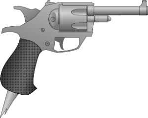 A stylish revolver with angular features and a spike on the bottom of the handle for close quarters combat.