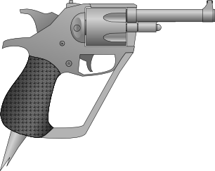 Revolver pistol with angular features & a spike on the bottom of the handle for close quarters combat.